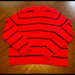 Mens Red Quarter Zip Polo Sweater